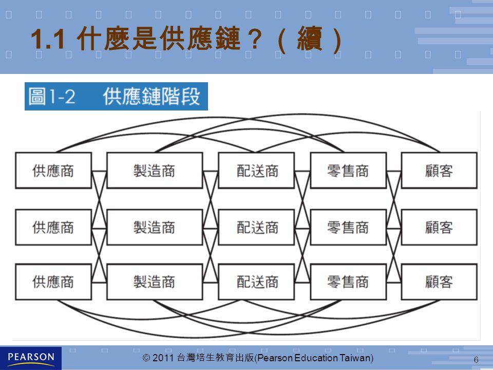 6 © 2011 台灣培生教育出版 (Pearson Education Taiwan) 1.1 什麼是供應鏈?(續)