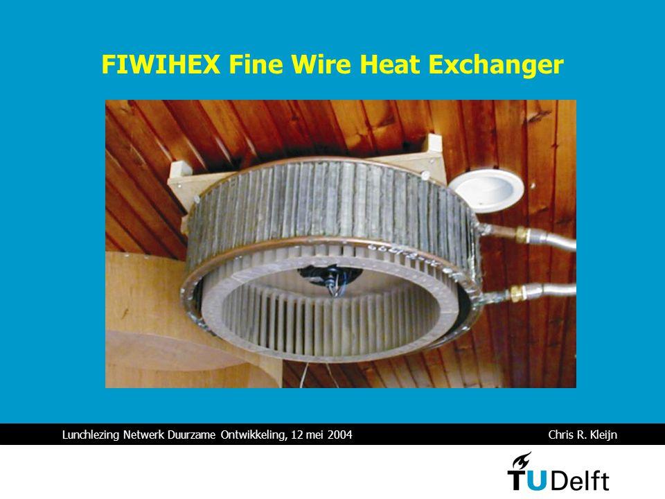 Lunchlezing Netwerk Duurzame Ontwikkeling, 12 mei 2004 Chris R. Kleijn FIWIHEX Fine Wire Heat Exchanger