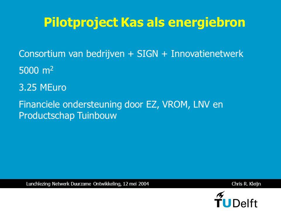 Lunchlezing Netwerk Duurzame Ontwikkeling, 12 mei 2004 Chris R. Kleijn Pilotproject Kas als energiebron Consortium van bedrijven + SIGN + Innovatienet