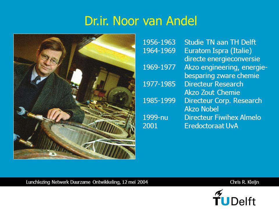 Lunchlezing Netwerk Duurzame Ontwikkeling, 12 mei 2004 Chris R. Kleijn Dr.ir. Noor van Andel 1956-1963 Studie TN aan TH Delft 1964-1969 Euratom Ispra