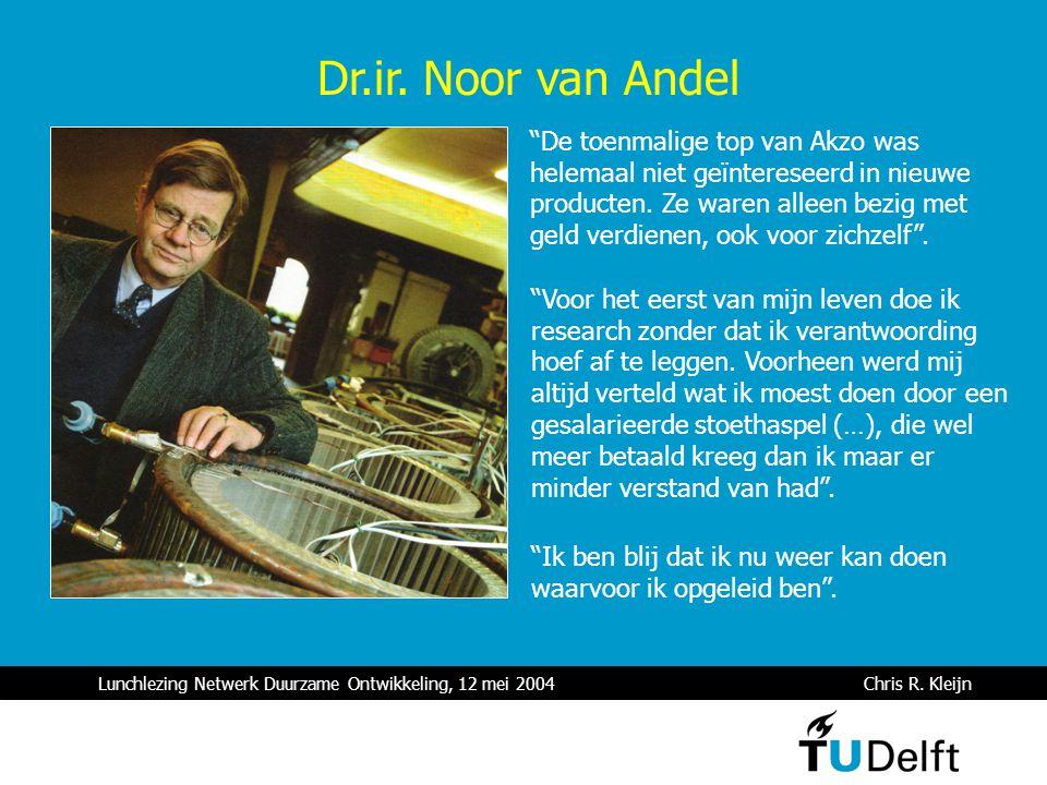 """Lunchlezing Netwerk Duurzame Ontwikkeling, 12 mei 2004 Chris R. Kleijn """"De toenmalige top van Akzo was helemaal niet geïntereseerd in nieuwe producten"""