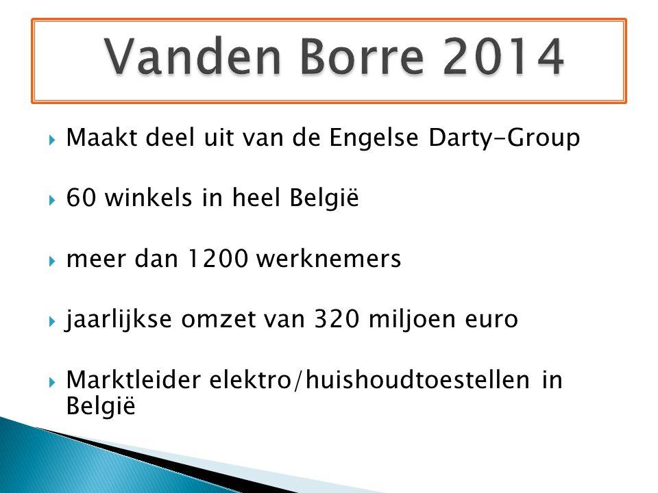  Maakt deel uit van de Engelse Darty-Group  60 winkels in heel België  meer dan 1200 werknemers  jaarlijkse omzet van 320 miljoen euro  Marktleider elektro/huishoudtoestellen in België