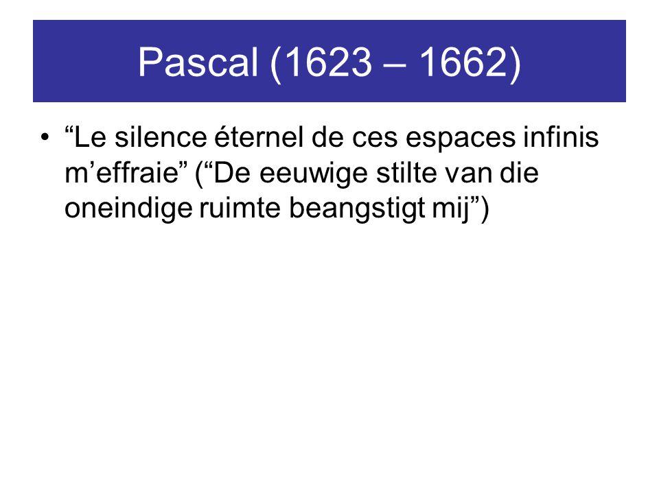 """Pascal (1623 – 1662) """"Le silence éternel de ces espaces infinis m'effraie"""" (""""De eeuwige stilte van die oneindige ruimte beangstigt mij"""")"""