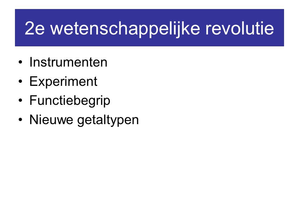 2e wetenschappelijke revolutie Instrumenten Experiment Functiebegrip Nieuwe getaltypen