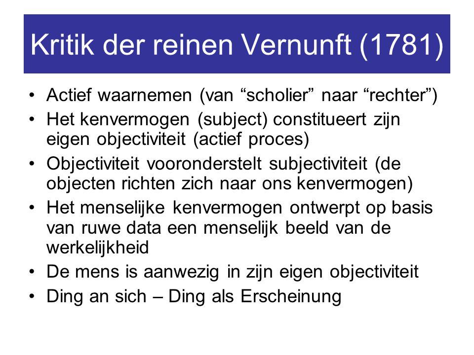 """Kritik der reinen Vernunft (1781) Actief waarnemen (van """"scholier"""" naar """"rechter"""") Het kenvermogen (subject) constitueert zijn eigen objectiviteit (ac"""