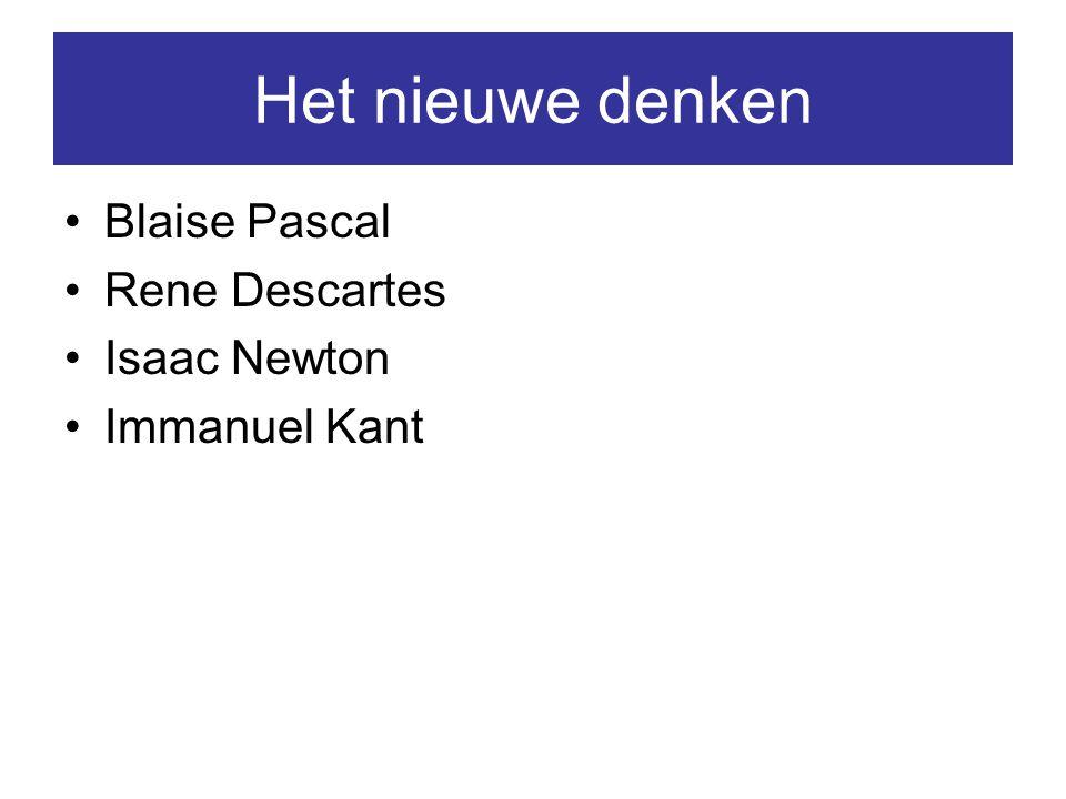 Het nieuwe denken Blaise Pascal Rene Descartes Isaac Newton Immanuel Kant
