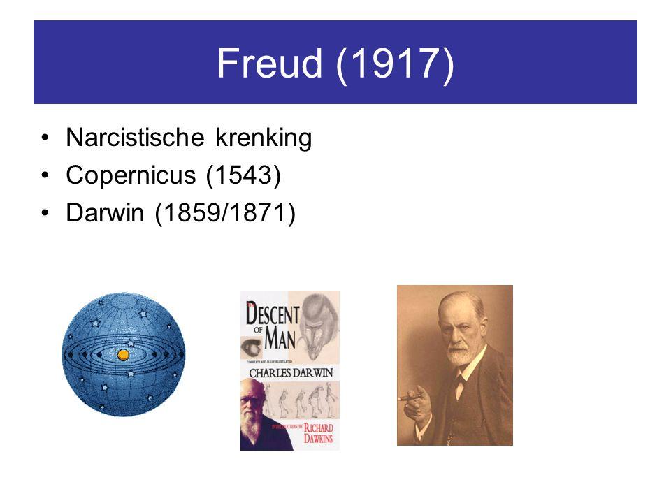 Freud (1917) Narcistische krenking Copernicus (1543) Darwin (1859/1871)