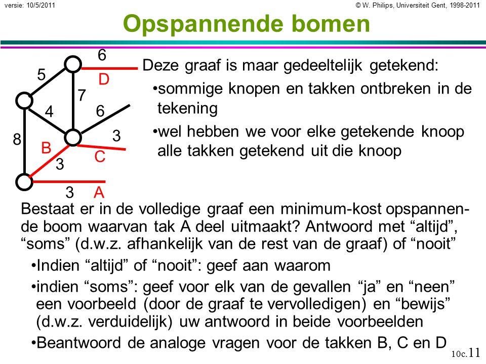 © W. Philips, Universiteit Gent, 1998-2011versie: 10/5/2011 10c. 11 Opspannende bomen Bestaat er in de volledige graaf een minimum-kost opspannen- de