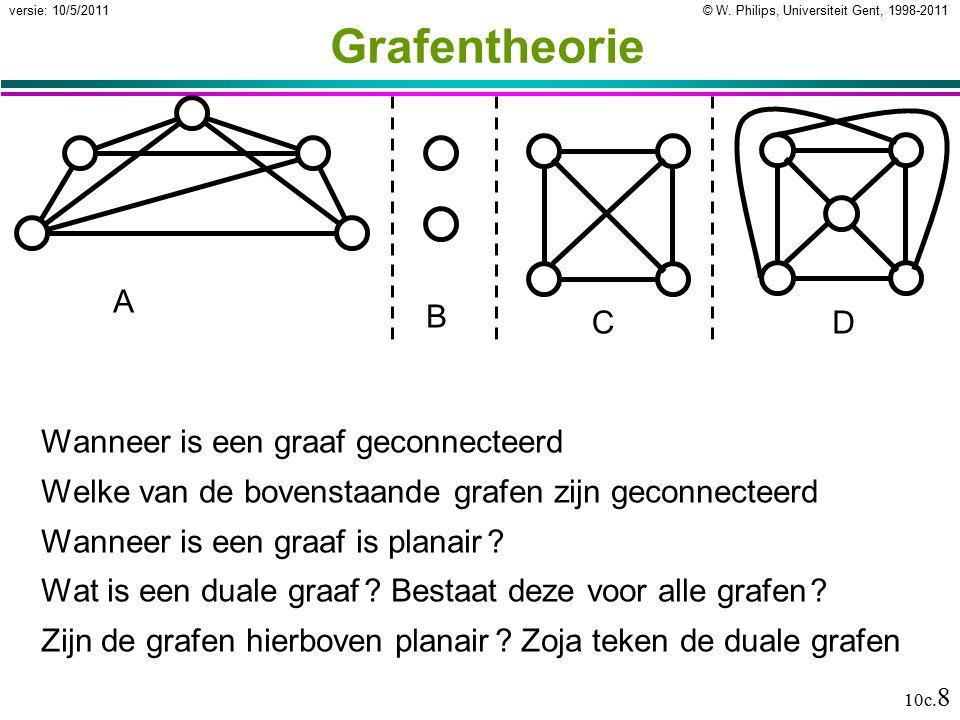 © W. Philips, Universiteit Gent, 1998-2011versie: 10/5/2011 10c. 8 Grafentheorie Wanneer is een graaf geconnecteerd Welke van de bovenstaande grafen z