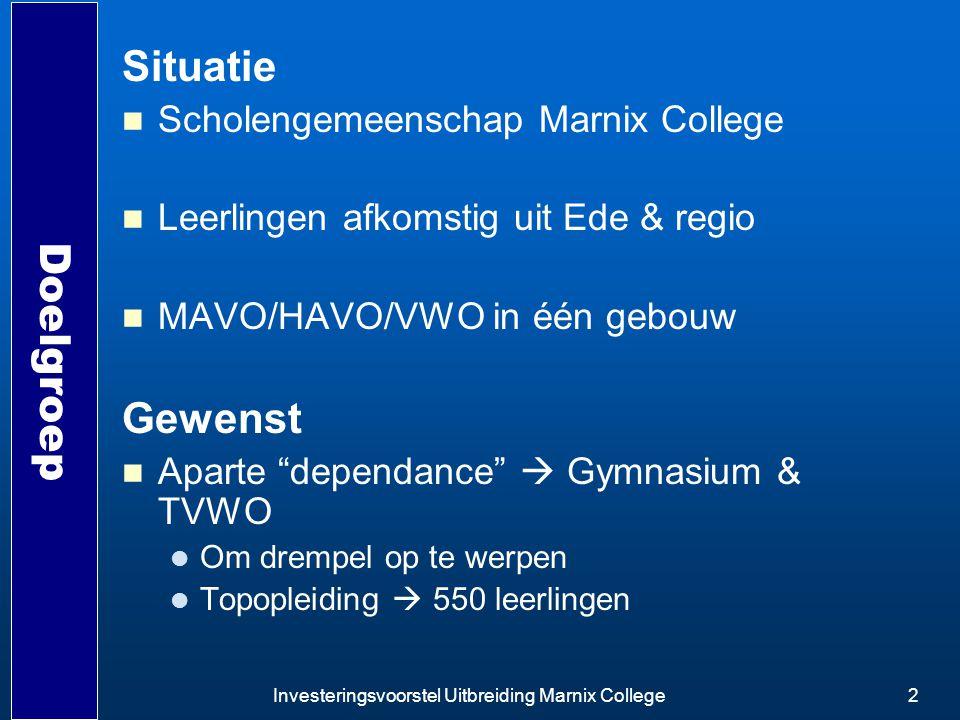 Investeringsvoorstel Uitbreiding Marnix College2 Doelgroep Situatie Scholengemeenschap Marnix College Leerlingen afkomstig uit Ede & regio MAVO/HAVO/V