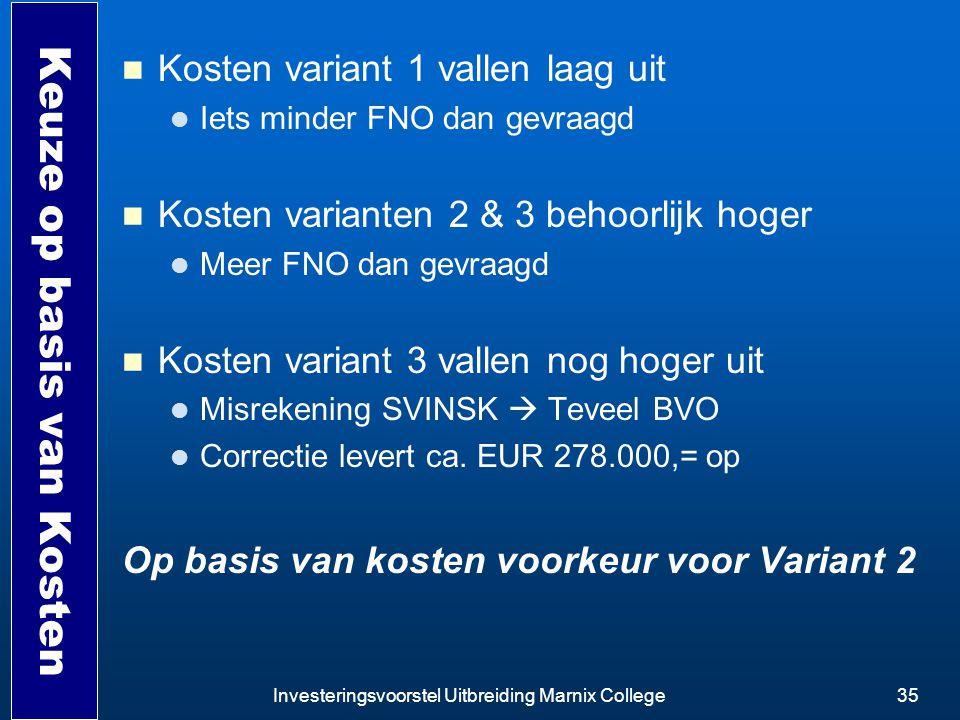 Investeringsvoorstel Uitbreiding Marnix College35 Keuze op basis van Kosten Kosten variant 1 vallen laag uit Iets minder FNO dan gevraagd Kosten varia