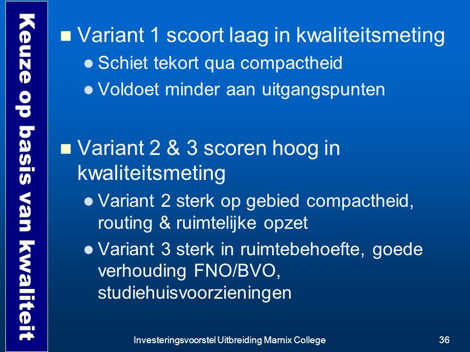 Investeringsvoorstel Uitbreiding Marnix College36 Keuze op basis van kwaliteit Variant 1 scoort laag in kwaliteitsmeting Schiet tekort qua compactheid