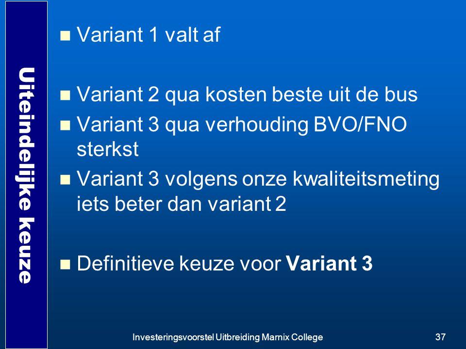 Investeringsvoorstel Uitbreiding Marnix College37 Uiteindelijke keuze Variant 1 valt af Variant 2 qua kosten beste uit de bus Variant 3 qua verhouding