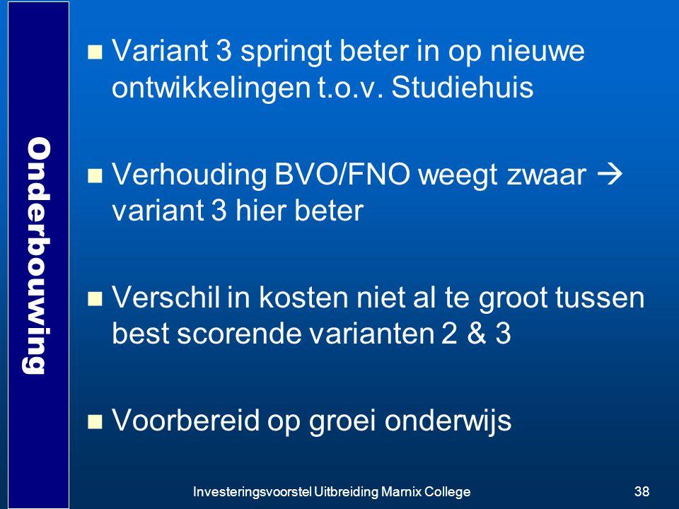 Investeringsvoorstel Uitbreiding Marnix College38 Onderbouwing Variant 3 springt beter in op nieuwe ontwikkelingen t.o.v. Studiehuis Verhouding BVO/FN