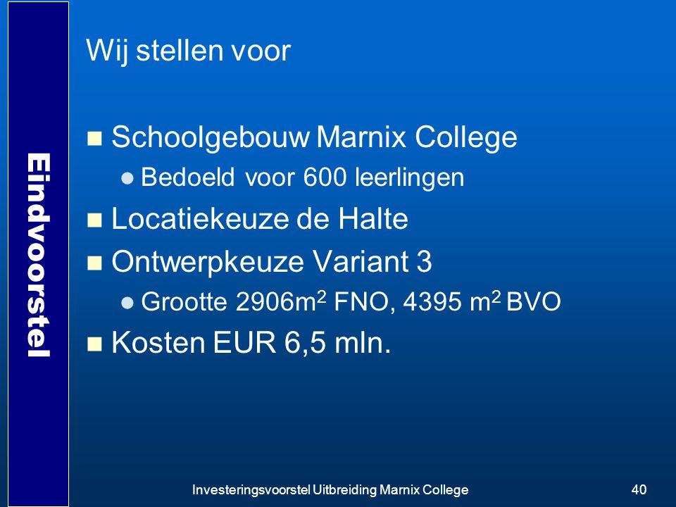 Investeringsvoorstel Uitbreiding Marnix College40 Eindvoorstel Wij stellen voor Schoolgebouw Marnix College Bedoeld voor 600 leerlingen Locatiekeuze d