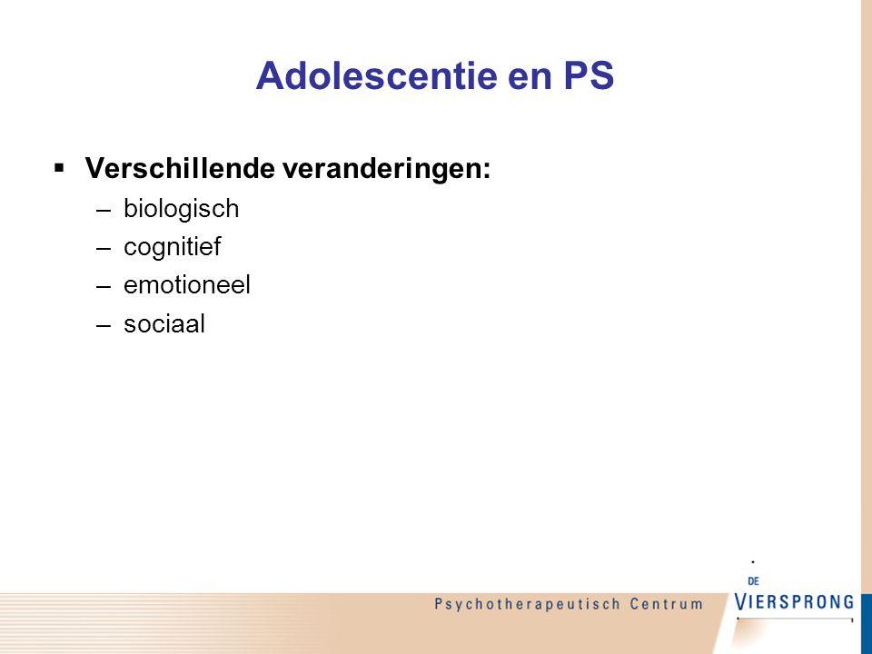 Adolescentie en PS  Verschillende veranderingen: –biologisch –cognitief –emotioneel –sociaal