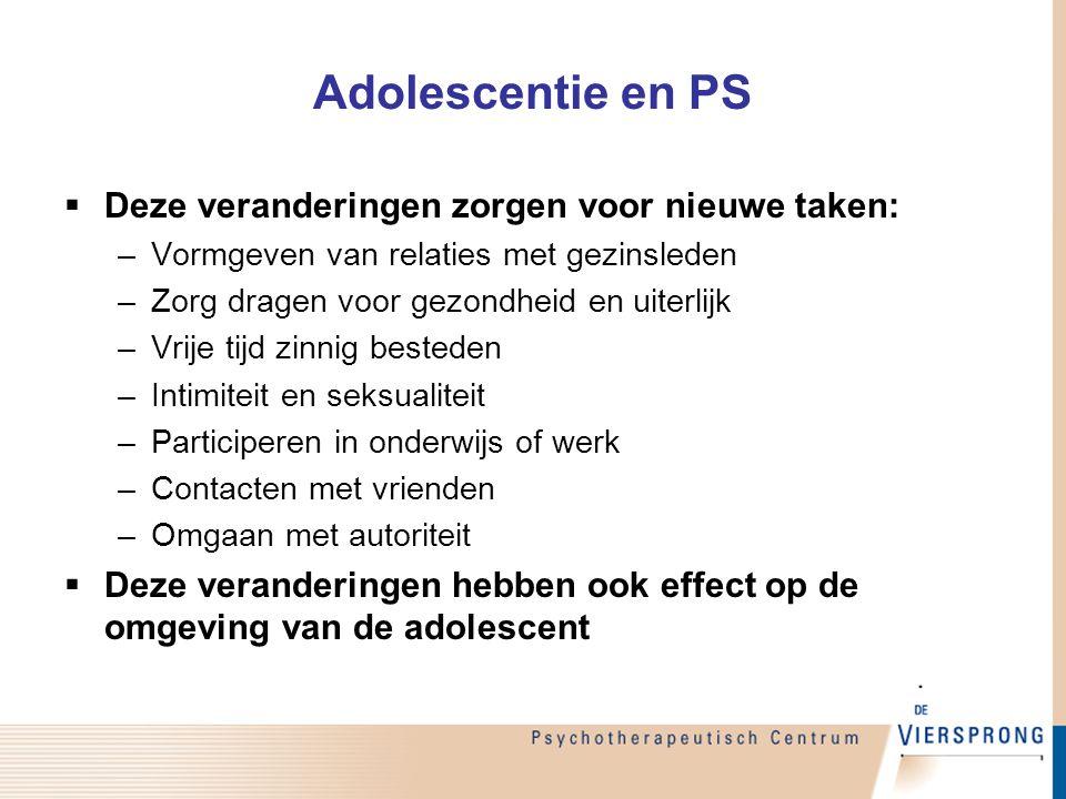 Adolescentie en PS  Deze veranderingen zorgen voor nieuwe taken: –Vormgeven van relaties met gezinsleden –Zorg dragen voor gezondheid en uiterlijk –V