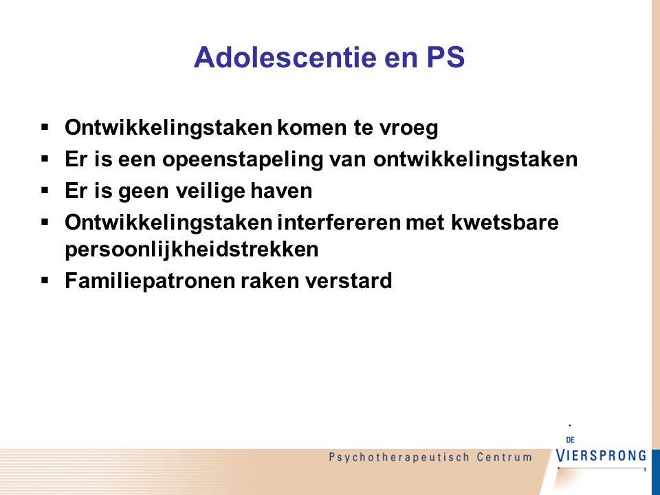 Adolescentie en PS  Ontwikkelingstaken komen te vroeg  Er is een opeenstapeling van ontwikkelingstaken  Er is geen veilige haven  Ontwikkelingstak