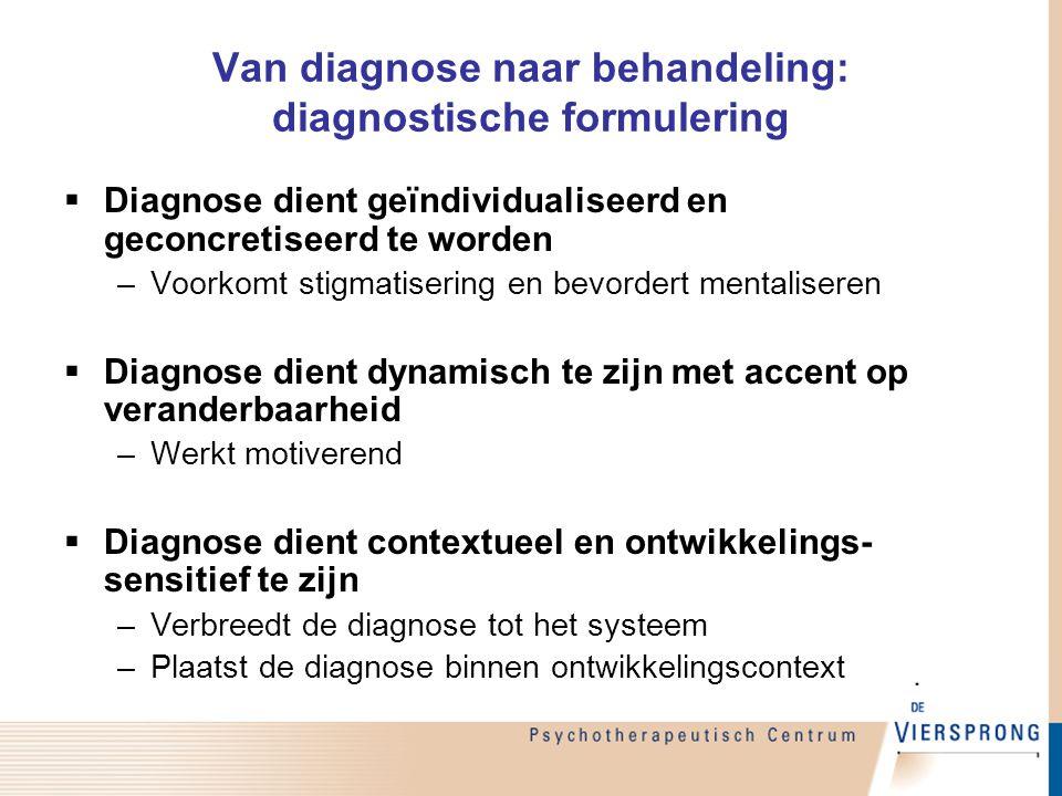 Van diagnose naar behandeling: diagnostische formulering  Diagnose dient geïndividualiseerd en geconcretiseerd te worden –Voorkomt stigmatisering en
