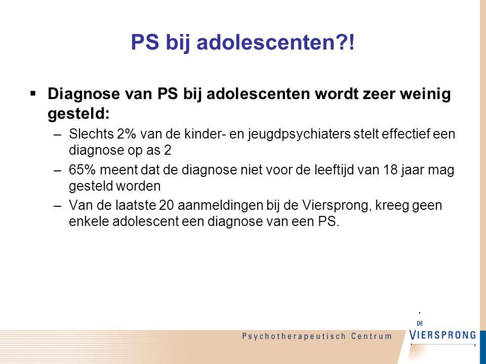 PS bij adolescenten?!  Diagnose van PS bij adolescenten wordt zeer weinig gesteld: –Slechts 2% van de kinder- en jeugdpsychiaters stelt effectief een