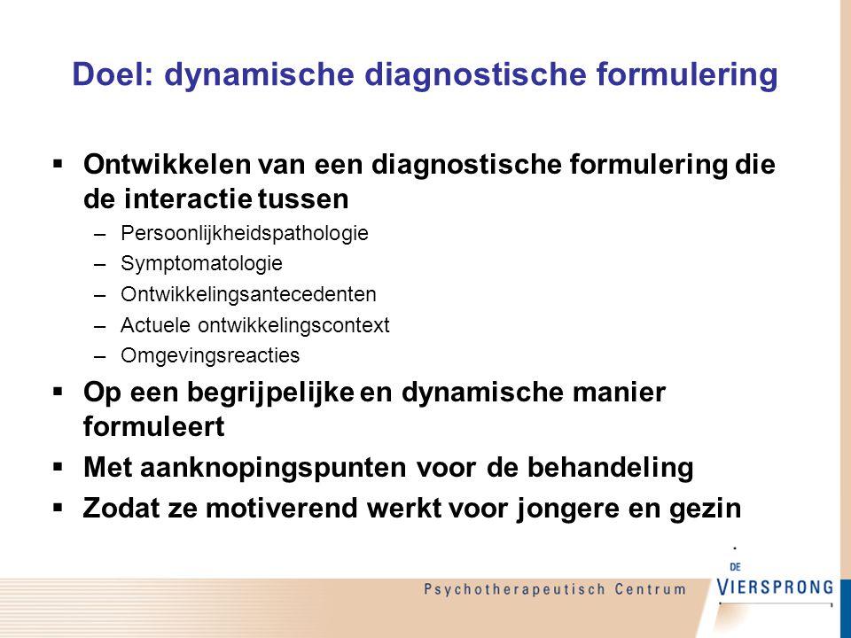 Doel: dynamische diagnostische formulering  Ontwikkelen van een diagnostische formulering die de interactie tussen –Persoonlijkheidspathologie –Sympt