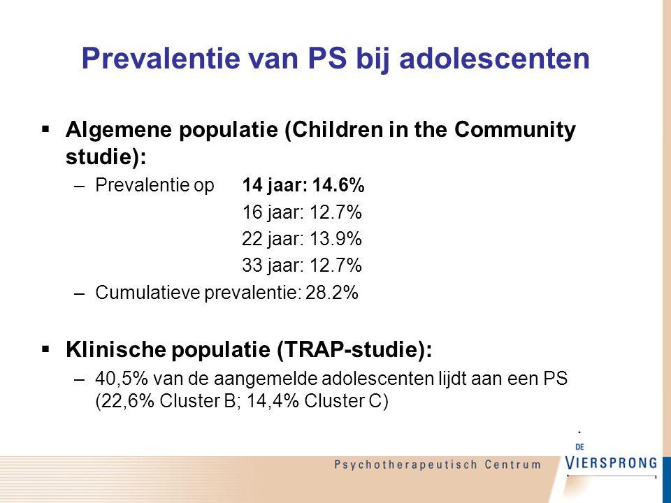 Prevalentie van PS bij adolescenten  Algemene populatie (Children in the Community studie): –Prevalentie op 14 jaar: 14.6% 16 jaar: 12.7% 22 jaar: 13