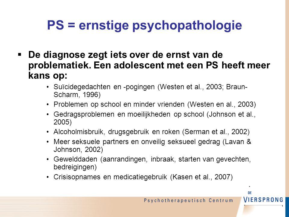 PS = ernstige psychopathologie  De diagnose zegt iets over de ernst van de problematiek. Een adolescent met een PS heeft meer kans op: Suïcidegedacht