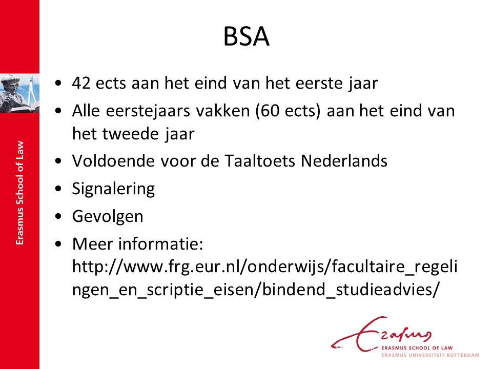 BSA 42 ects aan het eind van het eerste jaar Alle eerstejaars vakken (60 ects) aan het eind van het tweede jaar Voldoende voor de Taaltoets Nederlands Signalering Gevolgen Meer informatie: http://www.frg.eur.nl/onderwijs/facultaire_regeli ngen_en_scriptie_eisen/bindend_studieadvies/