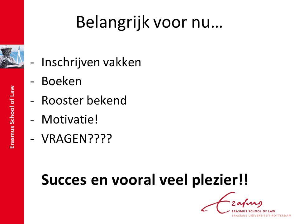 Belangrijk voor nu… -Inschrijven vakken -Boeken -Rooster bekend -Motivatie! -VRAGEN???? Succes en vooral veel plezier!!