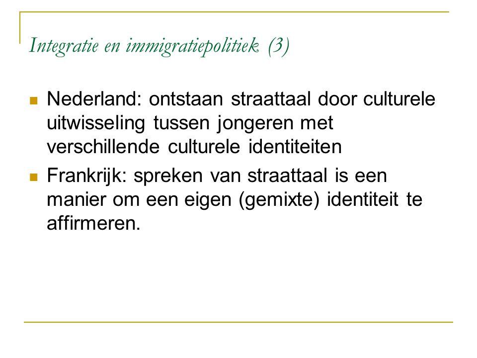 Integratie en immigratiepolitiek (3) Nederland: ontstaan straattaal door culturele uitwisseling tussen jongeren met verschillende culturele identiteit
