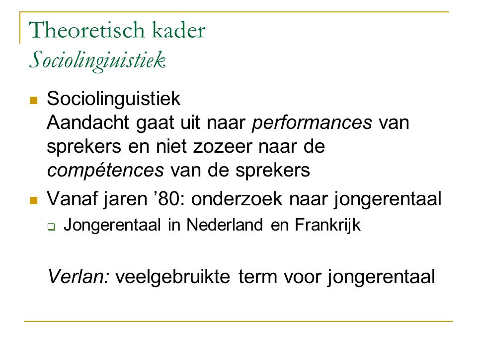 Sociolinguistiek (2) Citaat Lefkowitz: 'Verlan is a subcategory of speech play in the form of a play language involving syllable inversion and varying in complexity according to the number of syllables in the word.
