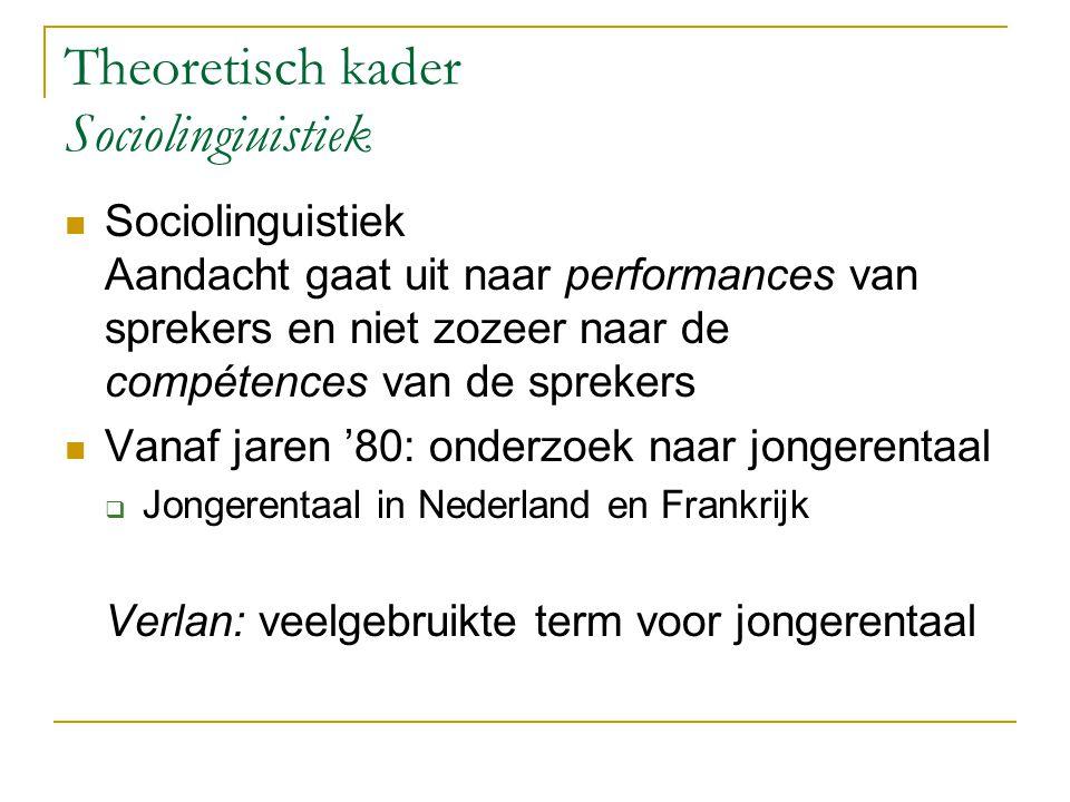 Theoretisch kader Sociolingiuistiek Sociolinguistiek Aandacht gaat uit naar performances van sprekers en niet zozeer naar de compétences van de spreke