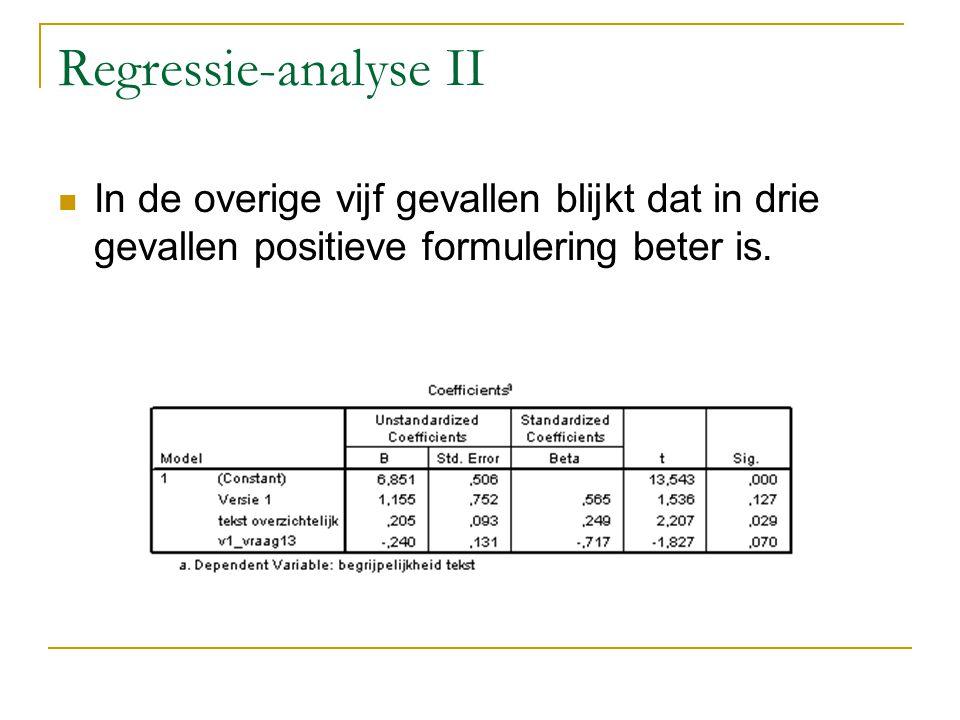 Regressie-analyse II In de overige vijf gevallen blijkt dat in drie gevallen positieve formulering beter is.