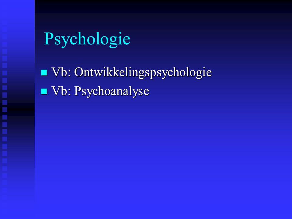 Psychologie Vb: Ontwikkelingspsychologie Vb: Ontwikkelingspsychologie Vb: Psychoanalyse Vb: Psychoanalyse