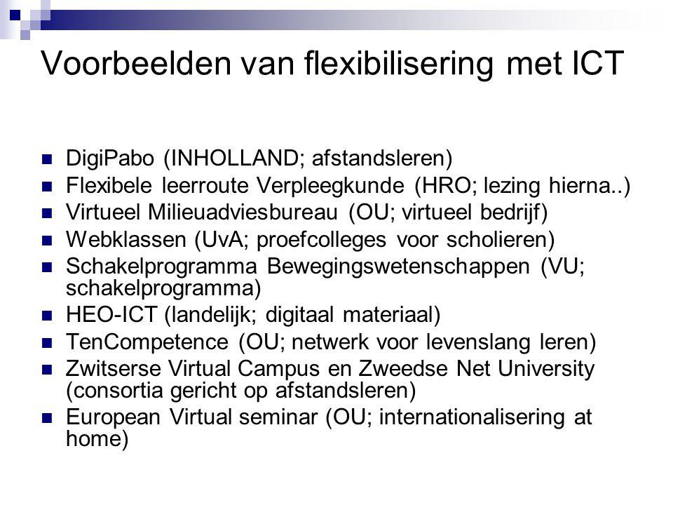Voorbeelden van flexibilisering met ICT DigiPabo (INHOLLAND; afstandsleren) Flexibele leerroute Verpleegkunde (HRO; lezing hierna..) Virtueel Milieuadviesbureau (OU; virtueel bedrijf) Webklassen (UvA; proefcolleges voor scholieren) Schakelprogramma Bewegingswetenschappen (VU; schakelprogramma) HEO-ICT (landelijk; digitaal materiaal) TenCompetence (OU; netwerk voor levenslang leren) Zwitserse Virtual Campus en Zweedse Net University (consortia gericht op afstandsleren) European Virtual seminar (OU; internationalisering at home)