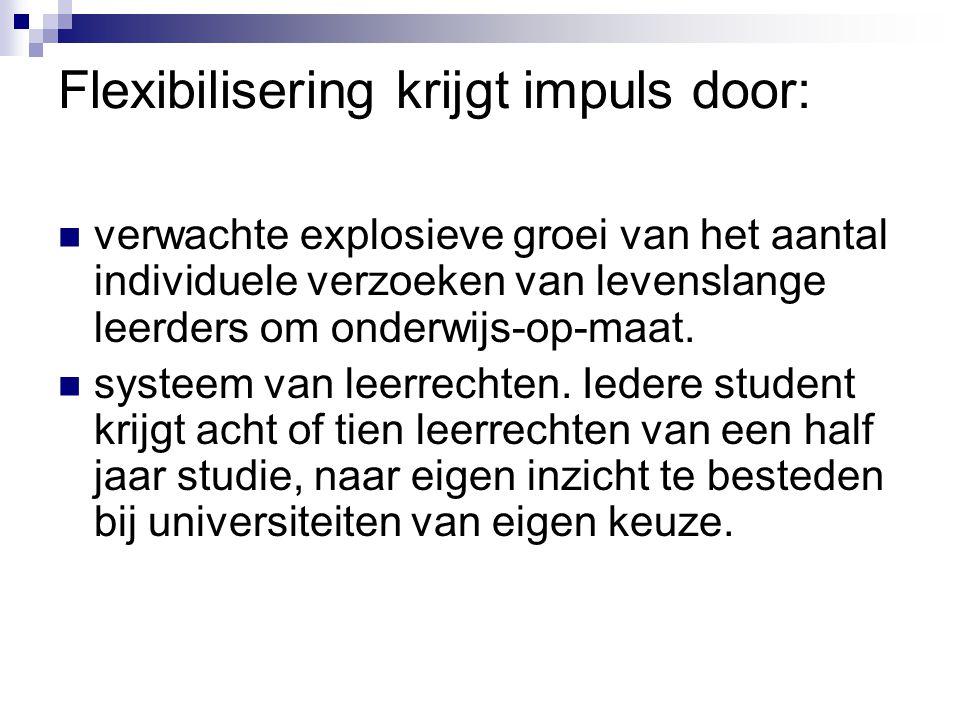 Conclusies Flexibilisering Nederlandse hoger onderwijs loopt achter Tools zijn het probleem niet (zie voorbeelden) Oorzaken.