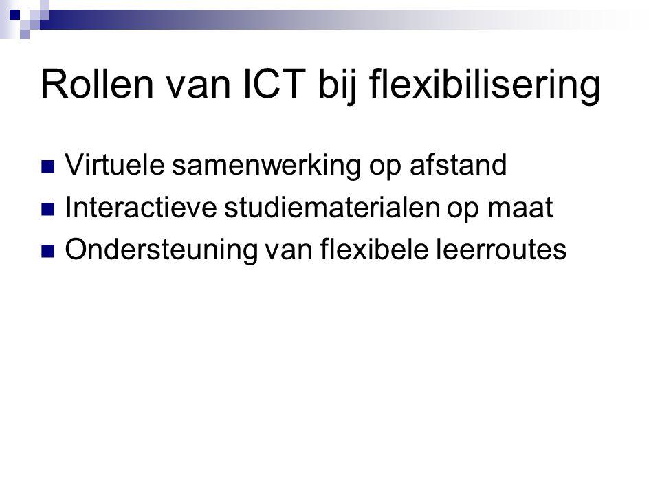 Rollen van ICT bij flexibilisering Virtuele samenwerking op afstand Interactieve studiematerialen op maat Ondersteuning van flexibele leerroutes