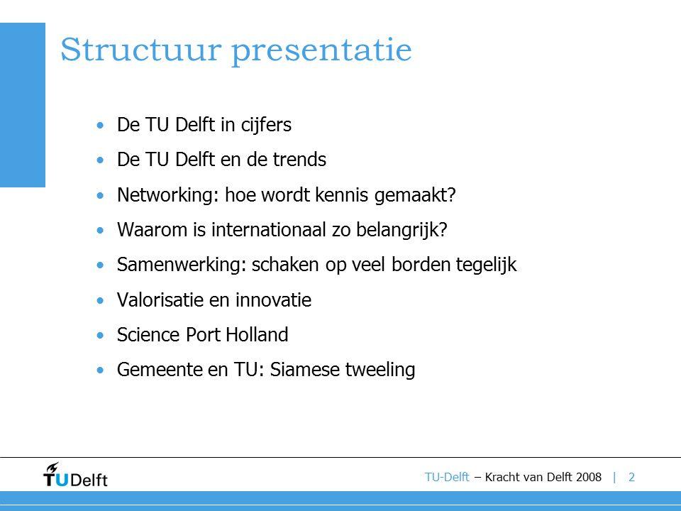|2 Structuur presentatie De TU Delft in cijfers De TU Delft en de trends Networking: hoe wordt kennis gemaakt.