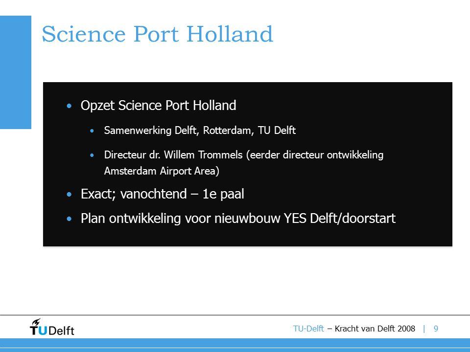 | Science Port Holland 9TU-Delft – Kracht van Delft 2008 Opzet Science Port Holland Samenwerking Delft, Rotterdam, TU Delft Directeur dr.