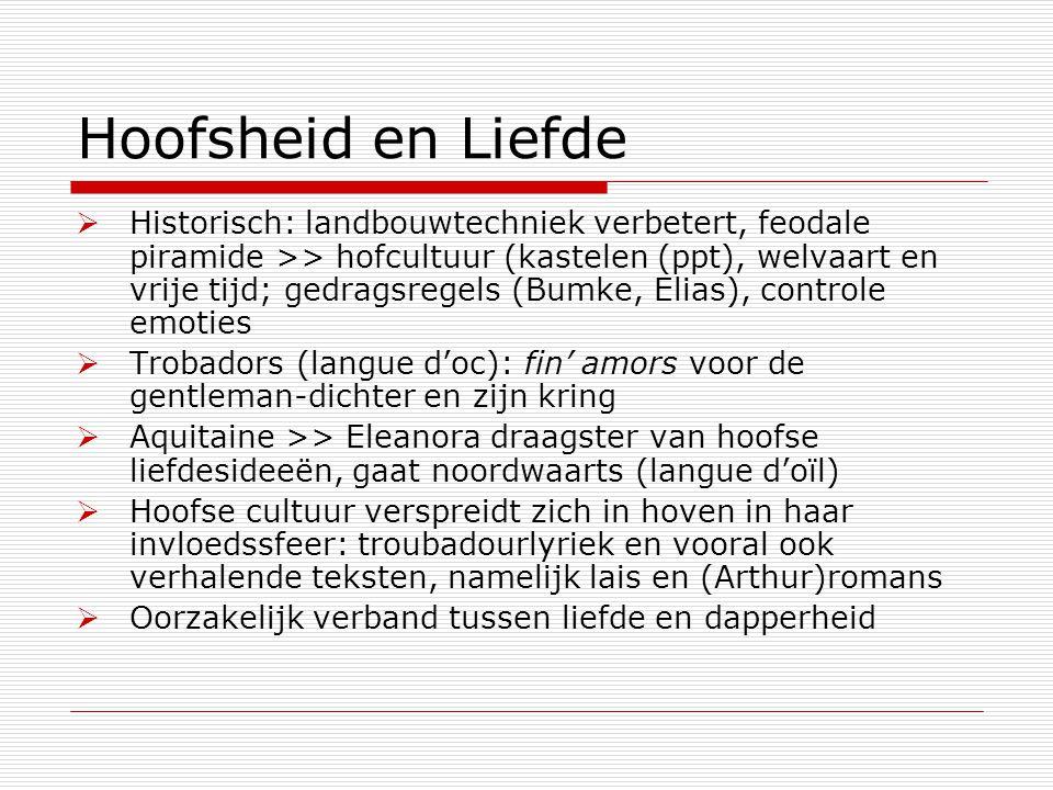 Hoofsheid en Liefde  Historisch: landbouwtechniek verbetert, feodale piramide >> hofcultuur (kastelen (ppt), welvaart en vrije tijd; gedragsregels (B