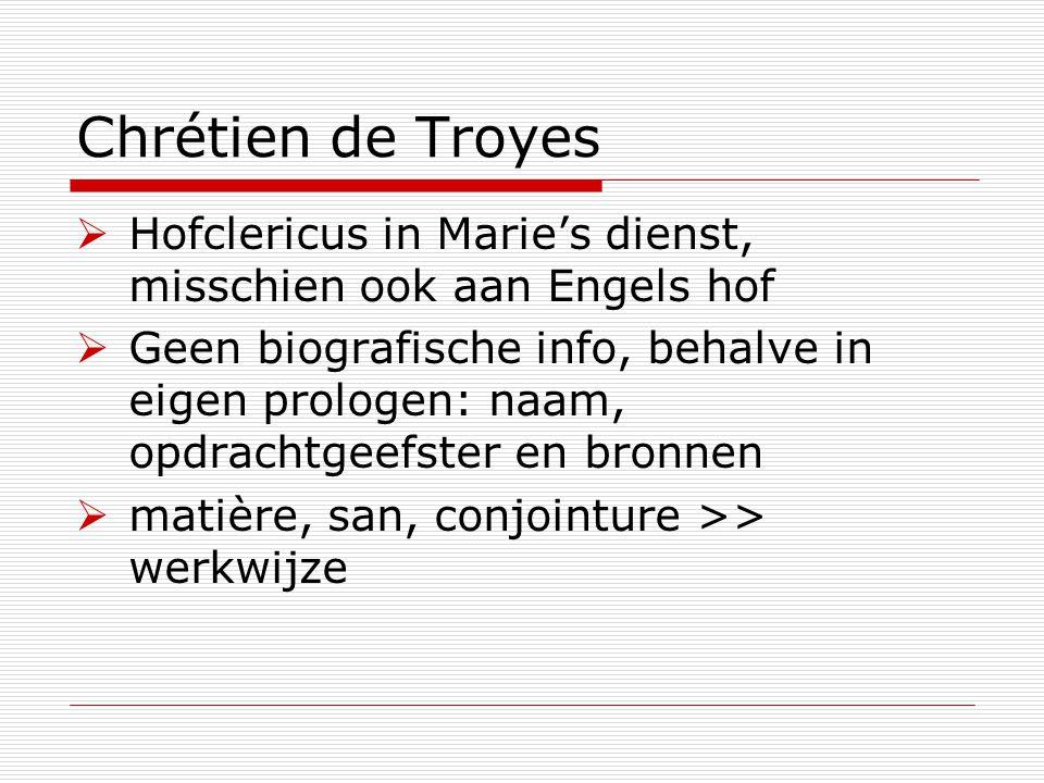 Chrétien de Troyes  Hofclericus in Marie's dienst, misschien ook aan Engels hof  Geen biografische info, behalve in eigen prologen: naam, opdrachtge