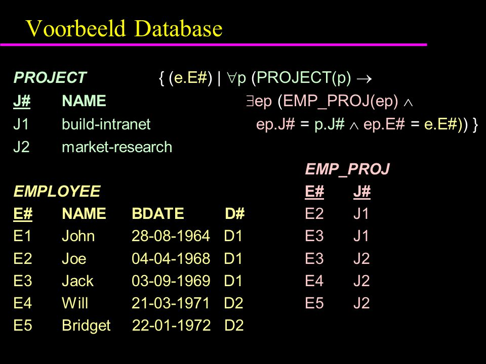 Voorbeeld Database PROJECT { (e.E#) |  p (PROJECT(p)  J#NAME  ep (EMP_PROJ(ep)  J1build-intranet ep.J# = p.J#  ep.E# = e.E#)) } J2market-research EMP_PROJ EMPLOYEEE#J# E#NAME BDATE D# E2J1 E1John 28-08-1964 D1 E3J1 E2Joe 04-04-1968 D1 E3J2 E3Jack 03-09-1969 D1 E4J2 E4Will 21-03-1971 D2 E5J2 E5Bridget 22-01-1972 D2