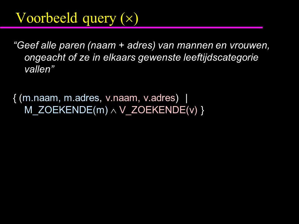 Voorbeeld query (  ) Geef alle paren (naam + adres) van mannen en vrouwen, ongeacht of ze in elkaars gewenste leeftijdscategorie vallen { (m.naam, m.adres, v.naam, v.adres) | M_ZOEKENDE(m)  V_ZOEKENDE(v) }