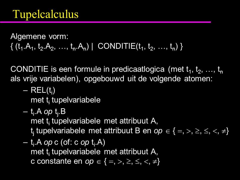 Tupelcalculus Algemene vorm: { (t 1.A 1, t 2.A 2, …, t n.A n ) | CONDITIE(t 1, t 2, …, t n ) } CONDITIE is een formule in predicaatlogica (met t 1, t 2, …, t n als vrije variabelen), opgebouwd uit de volgende atomen: –REL(t i ) met t i tupelvariabele –t i.A op t j.B met t i tupelvariabele met attribuut A, t j tupelvariabele met attribuut B en op  { , , , , ,  } –t i.A op c (of: c op t i.A) met t i tupelvariabele met attribuut A, c constante en op  { , , , , ,  }