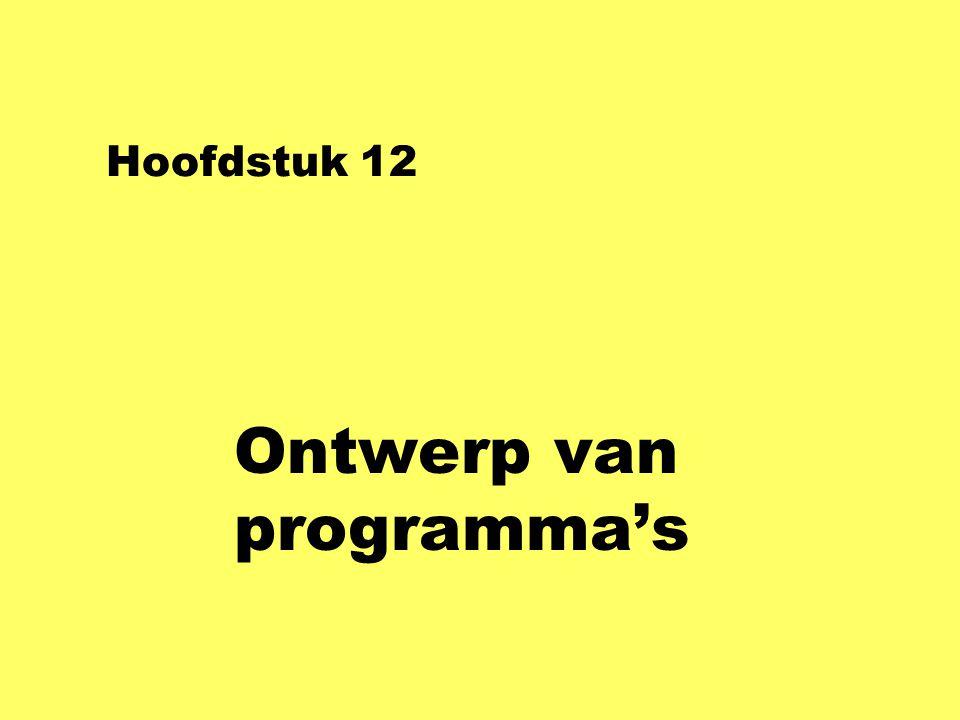 Hoofdstuk 12 Ontwerp van programma's