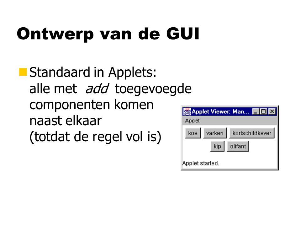 Ontwerp van de GUI nStandaard in Applets: alle met add toegevoegde componenten komen naast elkaar (totdat de regel vol is)