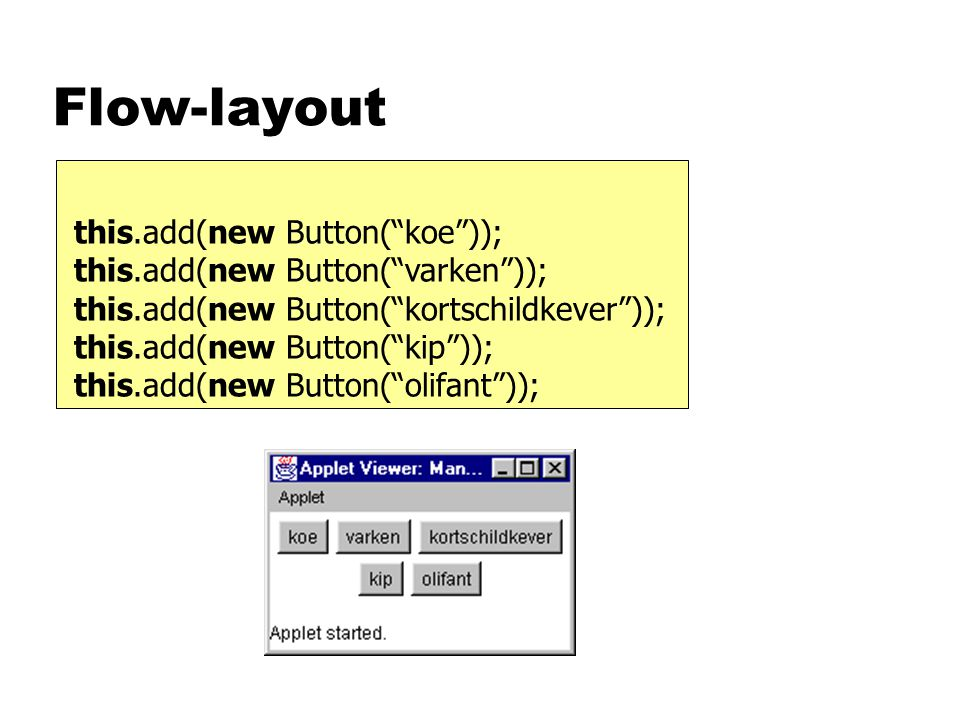 Flow-layout this.add(new Button( koe )); this.add(new Button( varken )); this.add(new Button( kortschildkever )); this.add(new Button( kip )); this.add(new Button( olifant ));