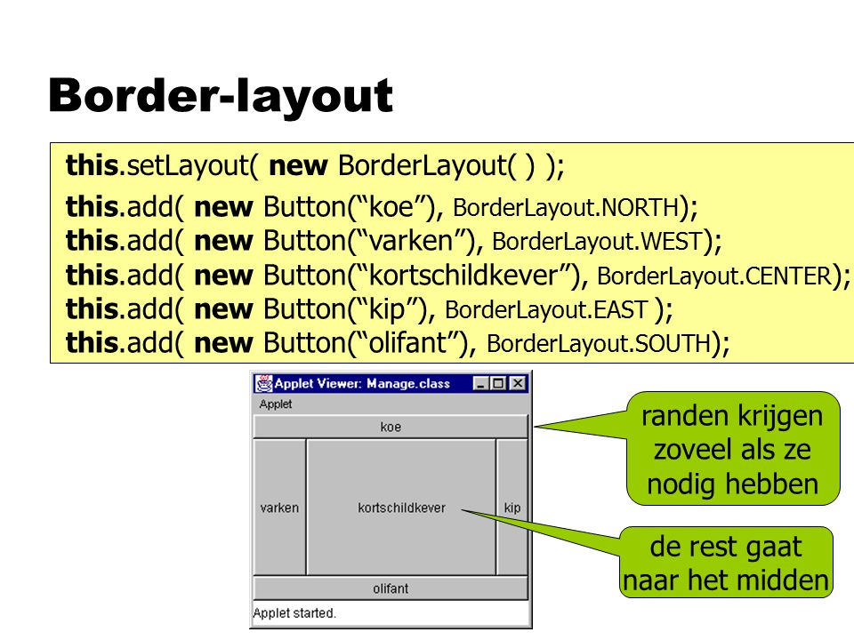Border-layout this.add( new Button( koe ), BorderLayout.NORTH ); this.add( new Button( varken ), BorderLayout.WEST ); this.add( new Button( kortschildkever ), BorderLayout.CENTER ); this.add( new Button( kip ), BorderLayout.EAST ); this.add( new Button( olifant ), BorderLayout.SOUTH ); this.setLayout( new BorderLayout( ) ); randen krijgen zoveel als ze nodig hebben de rest gaat naar het midden