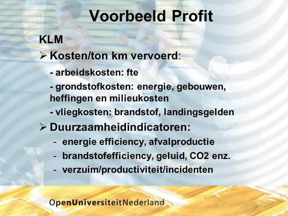 Voorbeeld Profit KLM  Kosten/ton km vervoerd: - arbeidskosten: fte - grondstofkosten: energie, gebouwen, heffingen en milieukosten - vliegkosten: bra
