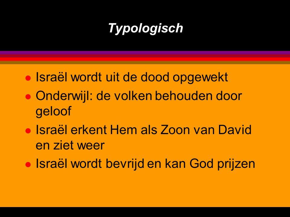 Typologisch l Israël wordt uit de dood opgewekt l Onderwijl: de volken behouden door geloof l Israël erkent Hem als Zoon van David en ziet weer l Israël wordt bevrijd en kan God prijzen